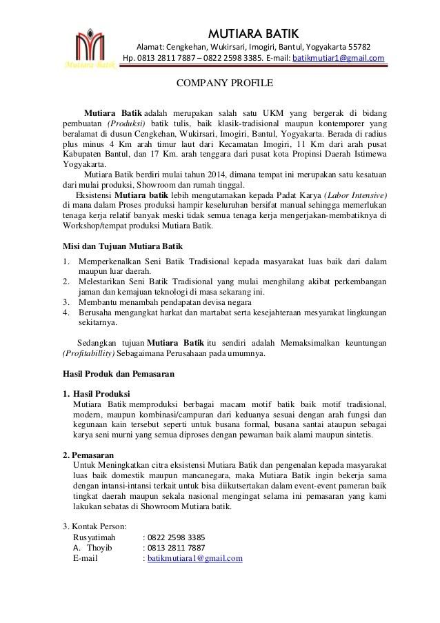 Contoh Profil Perusahaan UKM