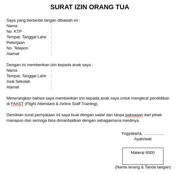 Contoh Surat Izin Orang Tua untuk Bekerja