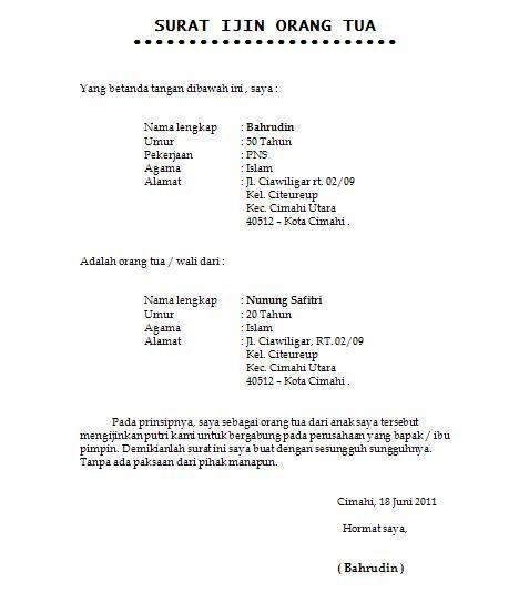 Contoh Surat Izin Orang Tua Untuk Bekerja - Nusagates