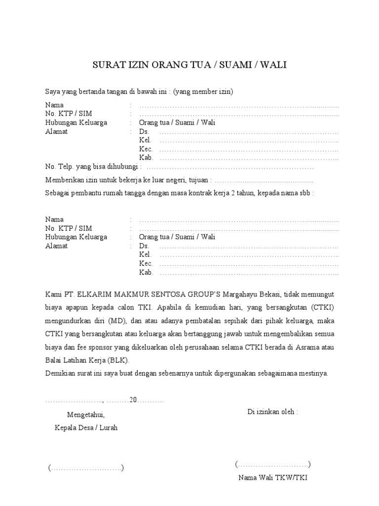 Contoh Surat Izin Orang Tua untuk Melamar Pekerjaan
