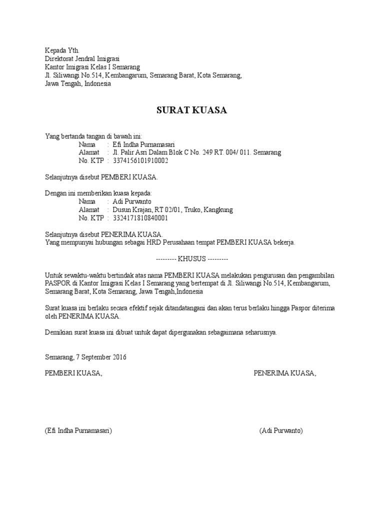Contoh Surat Kuasa Khusus Pengambilan Paspor