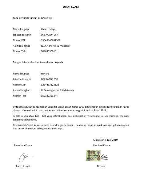 Contoh Surat Kuasa Khusus Pengambilan Gaji