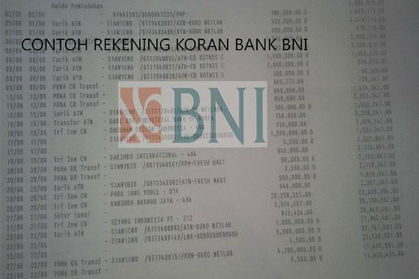 Contoh rekening koran offline Bank BNI